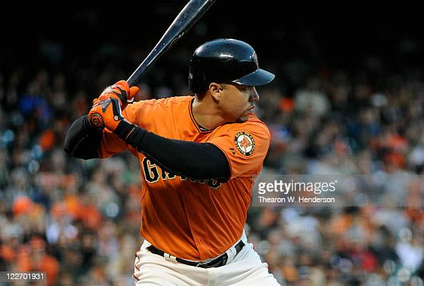 Carlos Beltran of the San Francisco Giants bats against the Houston Astros during an MLB baseball game August 26 2011 at ATT Park in San Francisco...