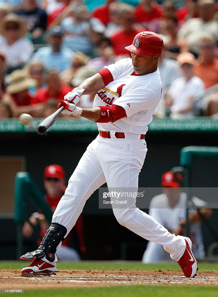 Carlos Beltran #3 of the St. Louis Cardinals bats during a game against the Minnesota Twins at Roger Dean Stadium on March 25, 2012 in Jupiter, Florida. The St. Louis Cardinals defeated the Minnesota Twins 9-2.