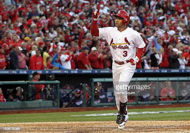 Carlos Beltran of the St Louis Cardinals celebrates after hitting home run in the sixth inning against the Washington Nationals during Game Two of...