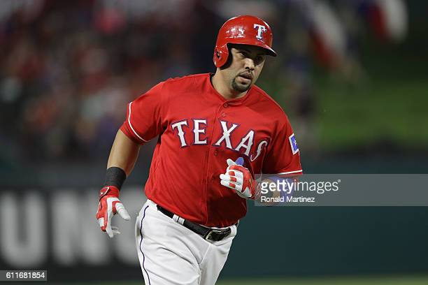 Carlos Beltran of the Texas Rangers runs the bases after hitting a homerun in the fourth inning against the Tampa Bay Rays at Globe Life Park in...