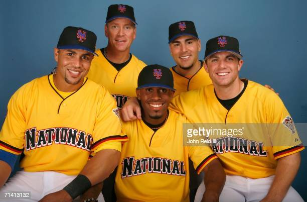 Carlos Beltran Tom Glavine Jose Reyes Paul LoDuca and David Wright of the New York Mets pose for a portrait during the 2006 AllStar Game Workout Day...