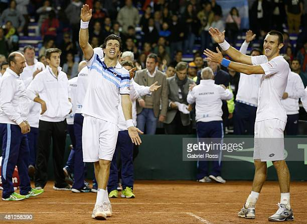 Carlos Berlocq of Argentina and Leonardo Mayer of Argentina celebrate after winning a quarter final doubles match between Carlos Berlocq / Leonardo...
