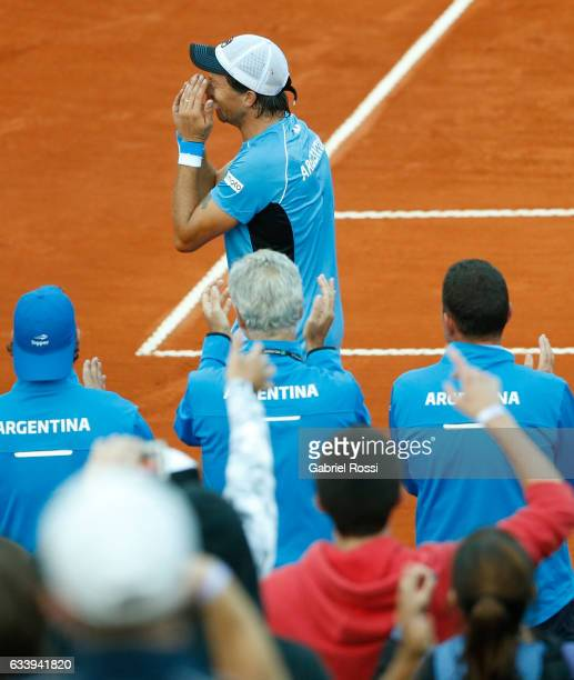 Carlos Berlocq of Argentina celebrates after wining the singles match between Carlos Berlocq and Paolo Lorenzi as part of day 3 of the Davis Cup 1st...