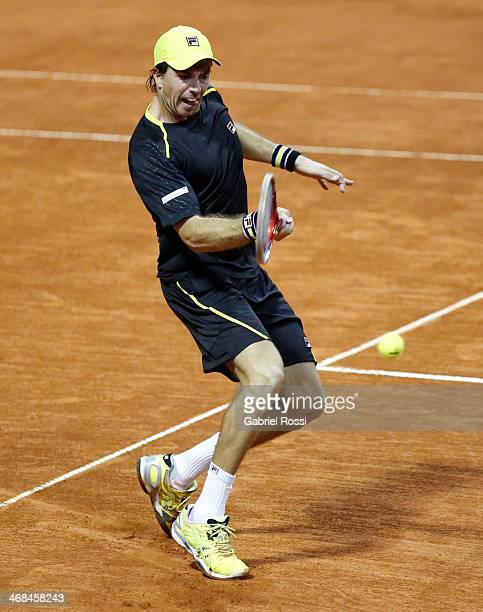 Carlos Berlocq of Argentina makes a shot during a tennis match as part of ATP Buenos Aires Copa Claro on February 10 2014 in Buenos Aires Argentina