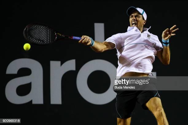Carlos Berlocq of Argentina returns a shot to Marin Cilic of Croatia during the ATP Rio Open 2018 at Jockey Club Brasileiro on February 19 2018 in...