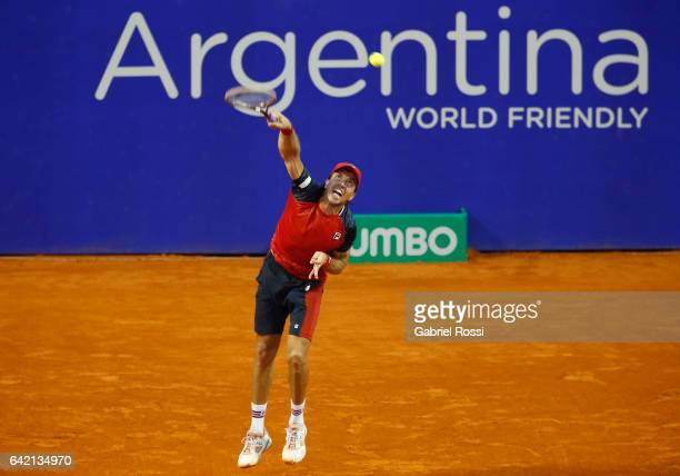 Carlos Berlocq of Argentina serves during a second round match between David Ferrer of Spain and Carlos Berlocq of Argentina as part of ATP Argentina...