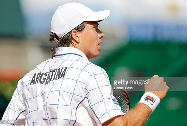 Carlos Berloq of Argentina celebrate a point during the match between Argentina and Czech Republic as part of the third day of the Davis Cup...
