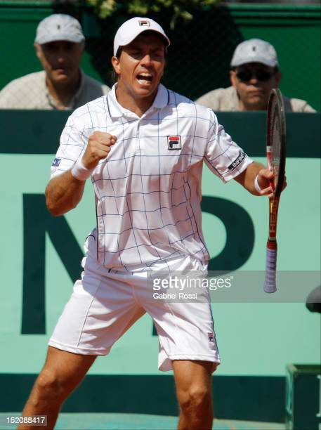 Carlos Berloq of Argentina celebrates a point during the match between Argentina and Czech Republic as part of the third day of the Davis Cup...