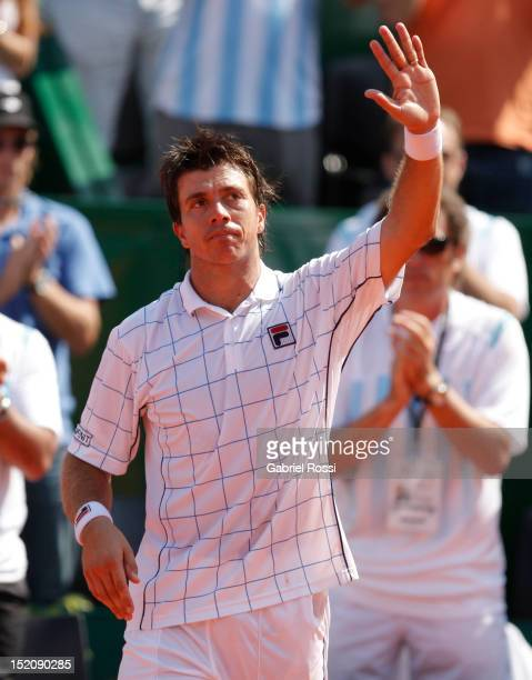 Carlos Berloq of Argentina greets the crowd after the match between Argentina and Czech Republic as part of the third day of the Davis Cup Semi-final...