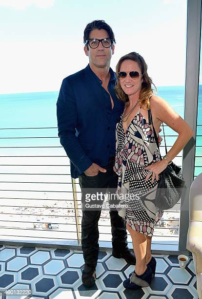 Carlos Betencourt and Megan Riley attend The John Varvatos Art Basel Closing Brunch In Support Of Bass Museum Of Art at Soho Beach House on December...