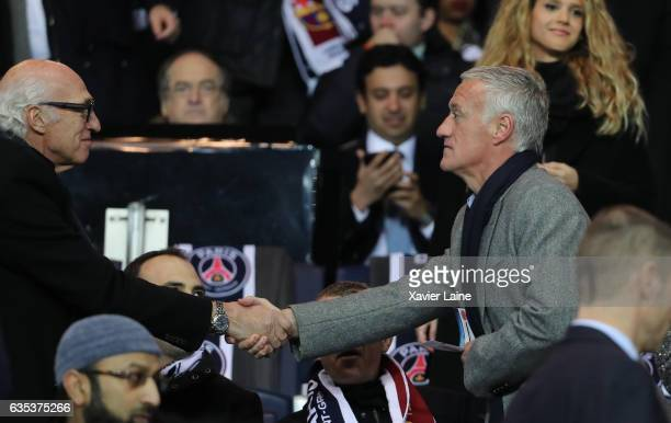 Carlos Bianchi and Didier Deschamps attend during the UEFA Champions League Round of 16 first leg match between Paris SaintGermain and FC Barcelona...
