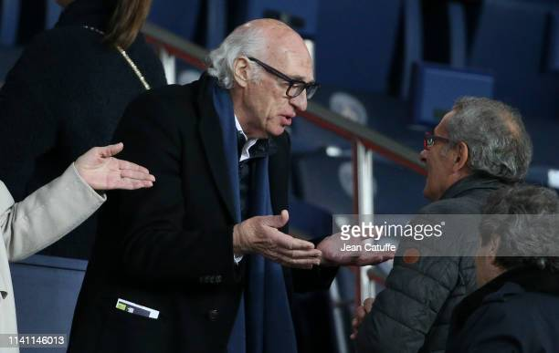Carlos Bianchi attends the French Ligue 1 match between Paris SaintGermain and RC Strasbourg Alsace at Parc des Princes stadium on April 7 2019 in...