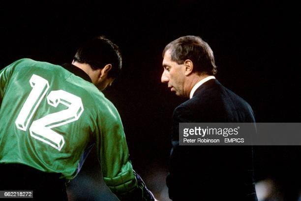 Carlos Bilardo Argentina manager talks to goalkeeper Sergio Goycochea