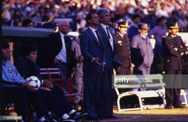 Carlos Bilardo coach of Argentina gestures during a match as part of FIFA 1986 World Cup Qualifiers circa 1985
