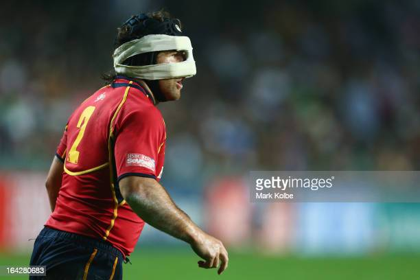 Carlos Blanco of Spain wears a face protector during the match between Canada and Spain on day one of the 2013 Hong Kong Sevens at Hong Kong Stadium...