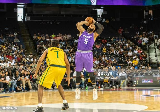 Carlos Boozer cocaptain of Ghost Ballers takes a jump shot at the foul line during game 2 in week three of the BIG3 3on3 basketball league on Friday...
