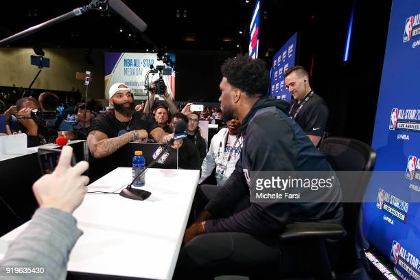 Carlos Boozer interviews Joel Embiid of the Philadelphia 76ers during NBA AllStar Media Day as part of 2018 NBA AllStar Weekend at the Los Angeles...