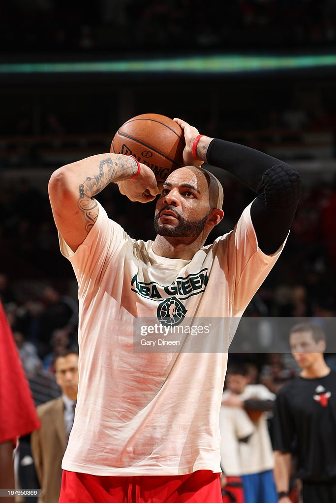 Carlos Boozer #5 of the Chicago Bulls warms up before the game against the Orlando Magic on April 05, 2013 at the United Center in Chicago, Illinois.