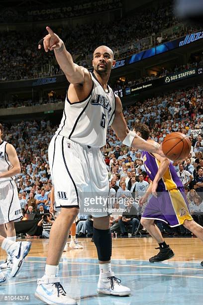 Carlos Boozer of the Utah Jazz calls a timeout in the matchup against the Los Angeles Lakers in Game Three of the Western Conference Semifinals...