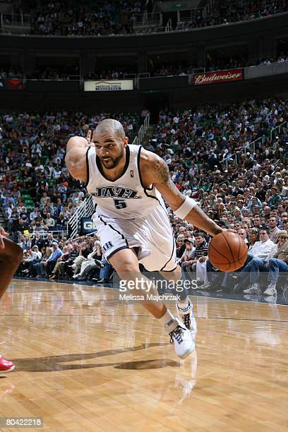 Carlos Boozer of the Utah Jazz drives the ball against the Los Angeles Clippers at EnergySolutions Arena on March 28 2008 in Salt Lake City Utah NOTE...