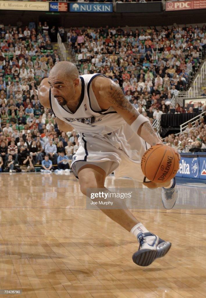 Carlos Boozer #5 of the Utah Jazz drives to the basket on November 6, 2006 at the Delta Center in Salt Lake City, Utah.
