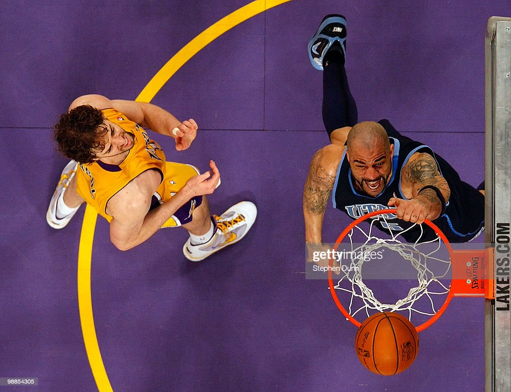 Carlos Boozer #5 of the Utah Jazz dunks the ball alongside Pau Gasol #16 of the Los Angeles Laker during Game Two of the Western Conference Semifinals of the 2010 NBA Playoffs at Staples Center on May 4, 2010 in Los Angeles, California.