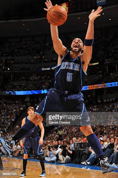 Carlos Boozer of the Utah Jazz goes goes for the ball against the Denver Nuggets in Game Two of the Western Conference Quarterfinals during the 2010...