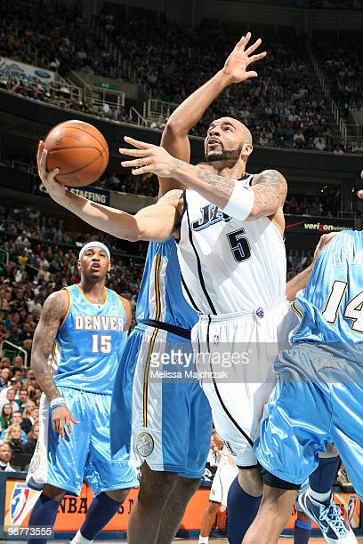 Carlos Boozer of the Utah Jazz goes up for the shot against the Denver Nuggets in Game Six of the Western Conference Quarterfinals during the 2010...