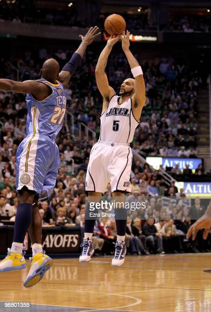 Carlos Boozer of the Utah Jazz in action against the Denver Nuggets in Game Six of the Western Conference Quarterfinals of the 2010 NBA Playoffs at...