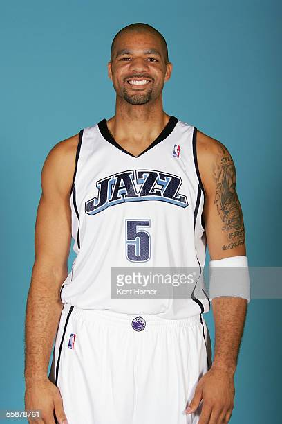Carlos Boozer of the Utah Jazz poses for a portrait during NBA Media Day on October 3 2005 at the Jazz Practice Facility in Salt Lake City Utah NOTE...