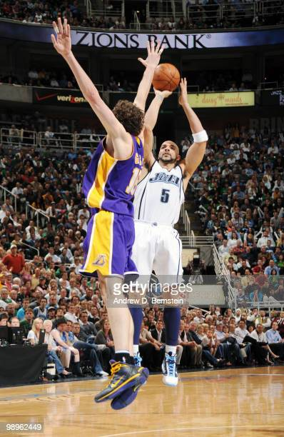 Carlos Boozer of the Utah Jazz puts the shot up over Pau Gasol of the Los Angeles Lakers in Game Four of the Western Conference Semifinals during the...