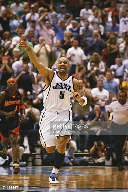 Carlos Boozer of the Utah Jazz reacts to a play in Game One of the Western Conference Semifinals against the Golden State Warriors during the 2007...