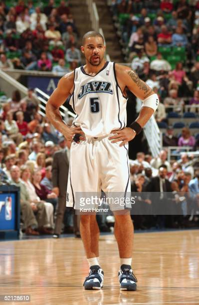 Carlos Boozer of the Utah Jazz stands on the court during the game against the Memphis Grizzlies on January 22, 2005 at the Delta Center in Salt Lake...