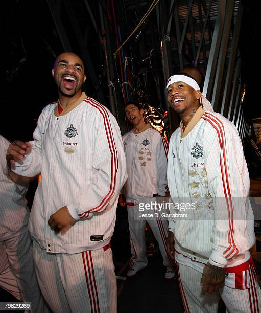 Carlos Boozer Steve Nash and Allen Iverson of the Western Conference share a laugh before walking out on to the court during the 2008 NBA AllStar...