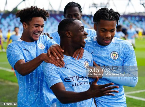 Carlos Borges of Manchester City celebrates after scoring his teams second goal during the U18 Premier League Final match between Manchester City and...