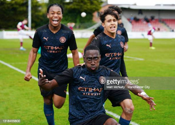 Carlos Borges of Manchester City celebrates with teammates after scoring his teams first goal during the Under 18's Premier League North match...