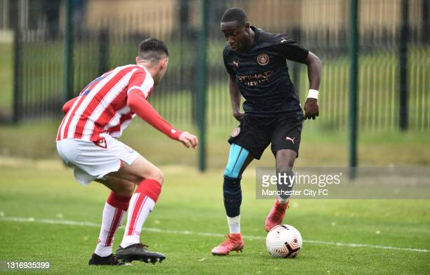 Carlos Borges of Manchester City in action during the U18 Premier League match between Stoke City and Manchester City at Clayton Wood Training Ground...