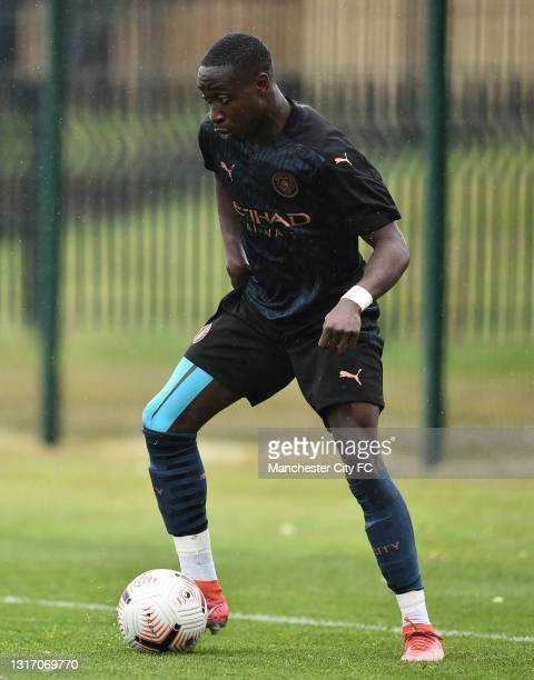 Carlos Borges of Manchester City runs with the ball during the U18 Premier League match between Stoke City and Manchester City at Clayton Wood...