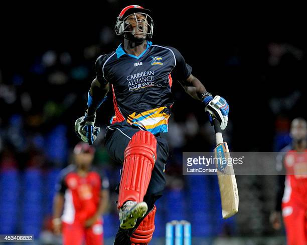 Carlos Brahwaite of Antigua Hawksbills celebrates after winning a match between Antigua Hawksbills and The Trinidad and Tobago Red Steel as part of...