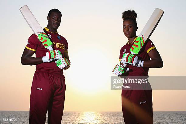 Carlos Brathwaite of and Hayley Matthews of the West Indies pose during a West Indies Portrait Session on March 30, 2016 in Mumbai, India.