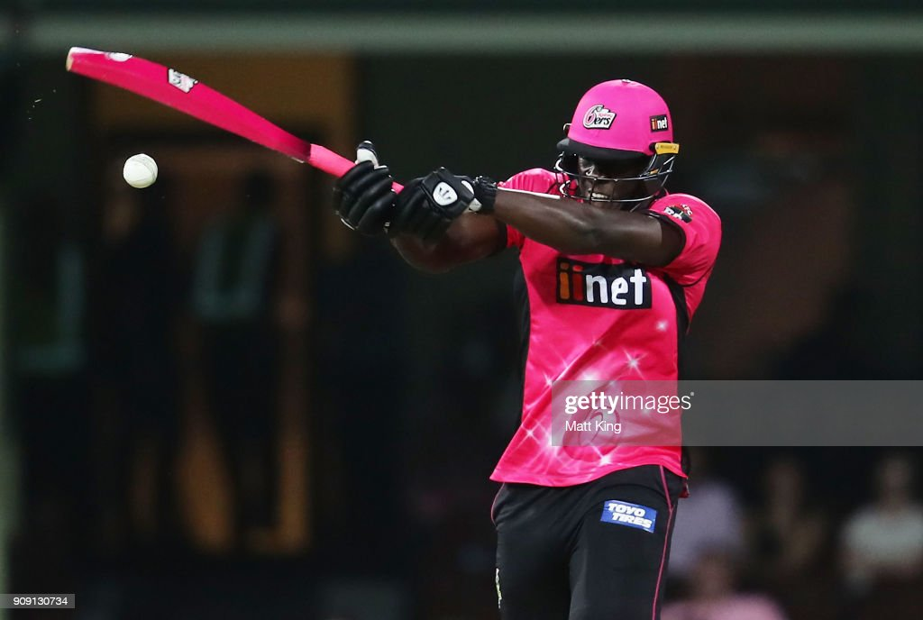 Carlos Brathwaite of the Sixers bats during the Big Bash League match between the Sydney Sixers and the Melbourne Stars at Sydney Cricket Ground on January 23, 2018 in Sydney, Australia.