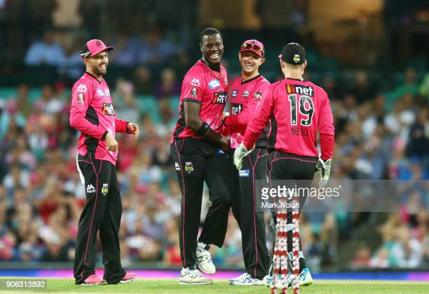 Carlos Brathwaite of the Sixers celebrates bowling Yasir Shah of the Heat during the Big Bash League match between the Sydney Sixers and the Brisbane...
