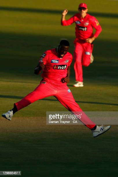 Carlos Brathwaite of the Sixers celebrates the wicket of Cameron Bancroft of the Perth Scorchers during the Big Bash League match between the Sydney...
