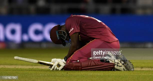 Carlos Brathwaite of the West Indies after losing the Group Stage match of the ICC Cricket World Cup 2019 between West Indies and New Zealand at Old...
