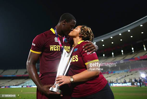 Carlos Brathwaite of the West Indies and his partner Jessica Felix celebrates victory after the ICC World Twenty20 India 2016 Final match between...