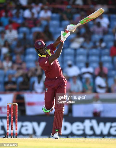 Carlos Brathwaite of the West Indies bats during the 4th One Day International match between the West Indies and England at Grenada National Stadium...