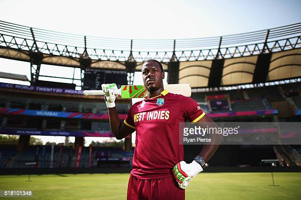 Carlos Brathwaite of the West Indies poses before a West Indies training session at Wankhede Stadium on March 30, 2016 in Mumbai, India.