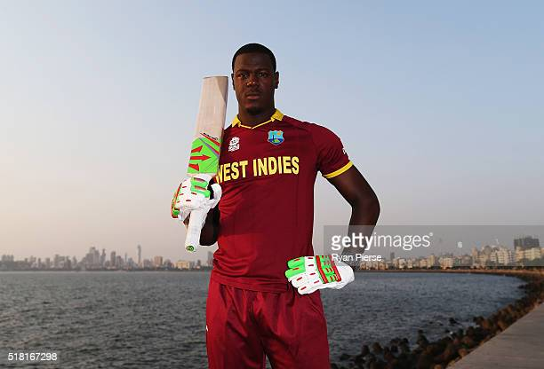 Carlos Brathwaite of the West Indies poses during a West Indies Portrait Session on March 30, 2016 in Mumbai, India.