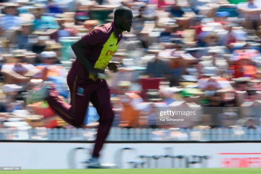 Carlos Brathwaite of the West Indies runs in to bowl during game one of the Twenty20 series between New Zealand and the West Indies at Saxton Field on December 29, 2017 in Nelson, New Zealand.