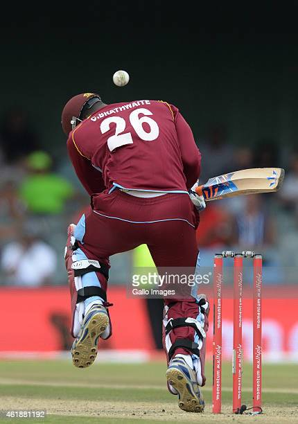 Carlos Brathwaite of West Indies ducks under a bouncer during the 3rd Momentum ODI between South Africa and West Indies at Buffalo Park on January 21...